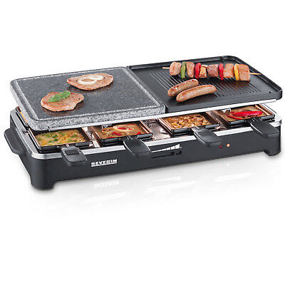 Severin RG2341 Raclette- Partygrill 8 Pfännchen, 1500 W Raclette-Steingrill