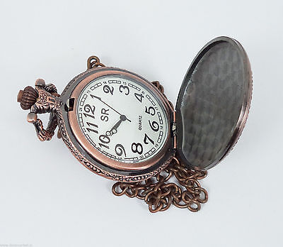 Handmade Vintage Pink Paris designed Pocket Watch with long chain - Dorpmarket