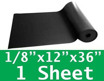 "1/8"" thick Neoprene Rubber Sheet 12"" x 36"" SOLID Long Black 60 Duro FREE SHIP"