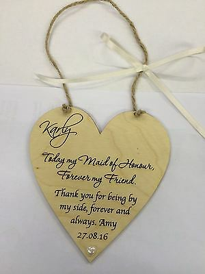 Maid of honour wedding favour thank you wooden heart plaque shabby chic gift