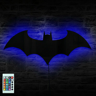 Batman Logo Mirror Wall Light Dark Knight Bat Symbol Logo LED Wall Lamp Gift