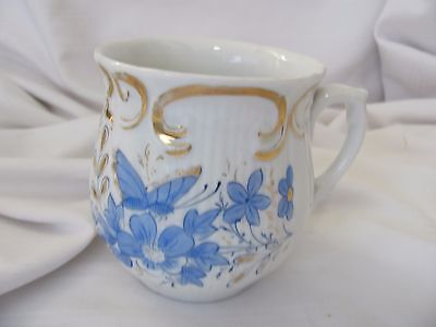 Victorian hand painted cup mug blue flowers butterfly gold scroll work