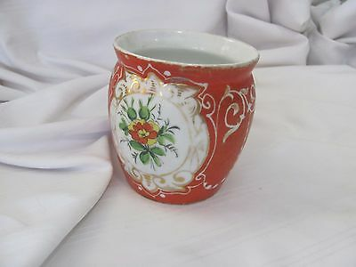 Victorian hand painted cup mug rust red gold floral