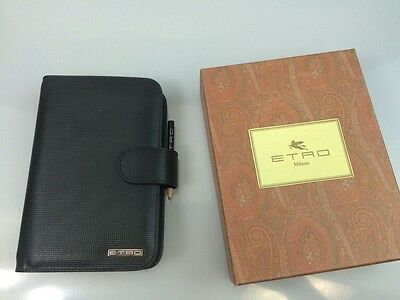 Etro Agenda/planner Black Textured Leather Logo Ornament 6-Ring Note Binder New