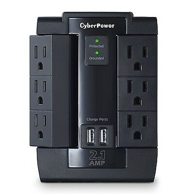 CyberPower CSP600WSU Surge Protector 6-AC Outlet Swivel with 2 USB (2.1A) Cha...