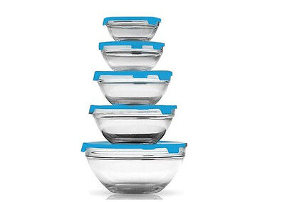 5 Blue Stackable Glass Bowl Bowls Food Storage Kitchen Set With Lids Home Lunch
