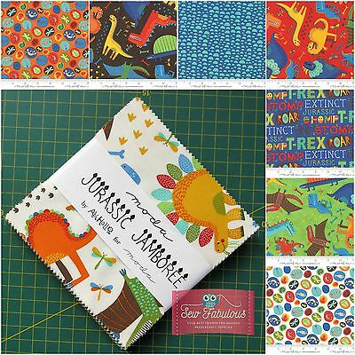 "Moda Charm Pack 42 x 5""  Fabric squares in Childs Jurassic Jamboree by Abi Hall"