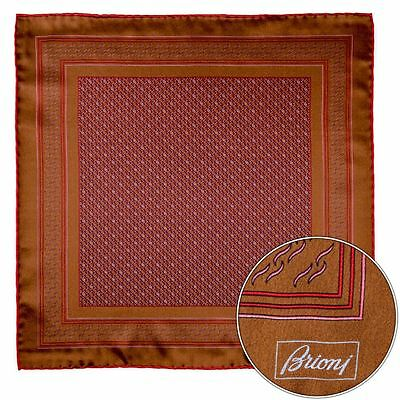 Mens BRIONI Brown Red Circles Silk Hand Rolled Pocket Square Handkerchief Hanky