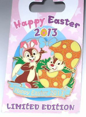 LE Disney Pin✿Chip Dale Happy Easter Bunny Rabbit Movement Egg Basket Opens Bows