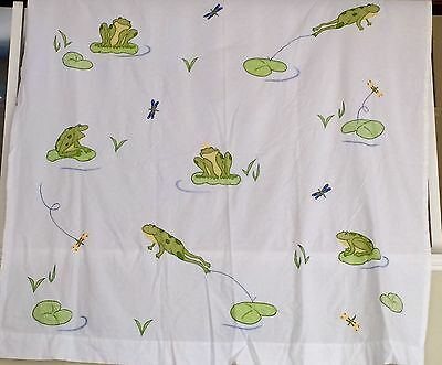 Pottery Barn Kids Shower Curtain Frogs Lilly Pads  Dragonfly White Green