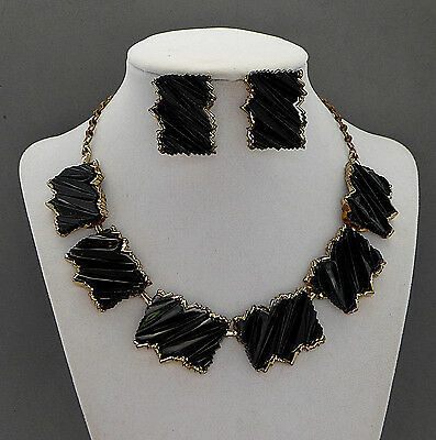 Chunky Vintage Bsk Black Thermoset Plastic Necklace Earrings Set