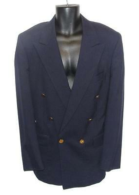 Burberry~Men's~Navy Blue~6 Gold Buttons~Double Breast~Wool Sports Blazer~Xl (45)