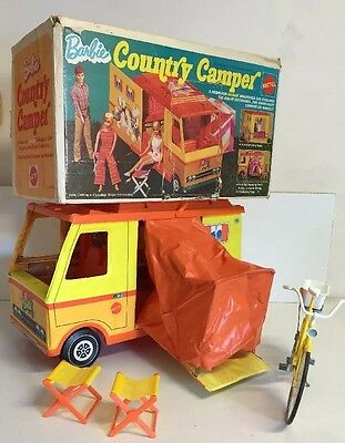 Vintage 1970 Mattel Barbie Country Camper RV Fold Out Toy with Original Box