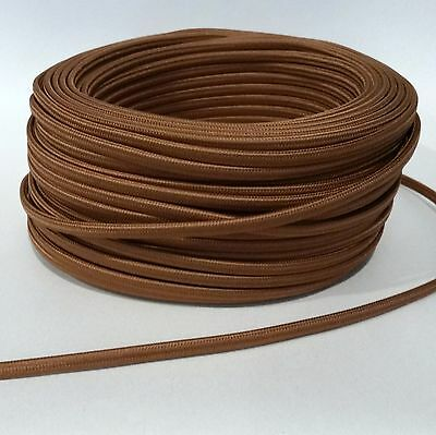 Cognac Flat Cloth Covered Wire, Antique Lamp Cord