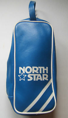 North Star Small Blue Vinyl Vintage Travel Toiletries Zippered Kit Bag w/ Handle