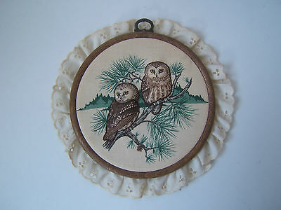 Vintage Completed Owl Embroidery Hoop Country Kitchen Wall Hanging Art