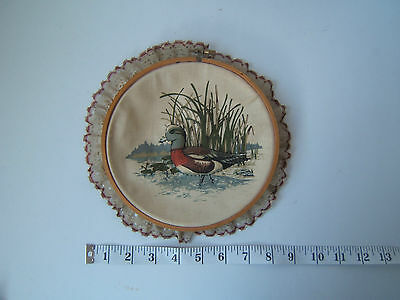 Vintage Completed Duck Embroidery Hoop Country Kitchen Wall Hanging Art