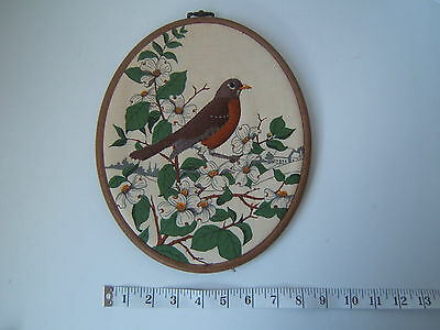 Vintage Completed Robin Oval Embroidery Hoop Country Kitchen Wall Hanging Art