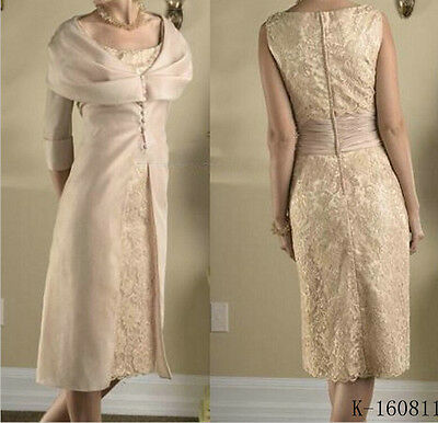 New Elegant Lace Evening Party Gown Knee-Length Mother of the Bride Dress Custom