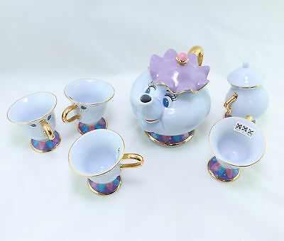 EMS Tokyo Disney limited Beauty and the Beast Mrs Potts pot Chip Tea cup 6 set