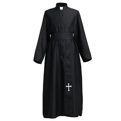 Black Robe Cloak With Belt Minister/Priest Halloween Party Cosplay Costume Set