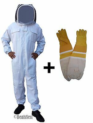 Professional Quality Beekeeping Bee Suit & Leather Gloves Bundle - Large