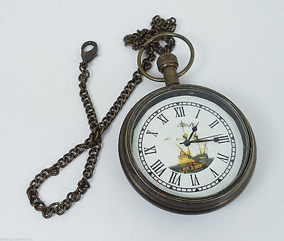 Vintage Reproduction Handmade Black Designed Pocket Watch & Long Chain