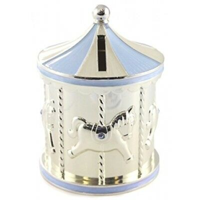 Baby shower gift Silver and Blue Carousel Money Bank