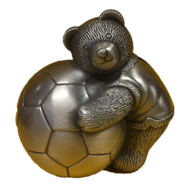 Silver Bear and Soccer Ball Pewter Money Bank - Baby
