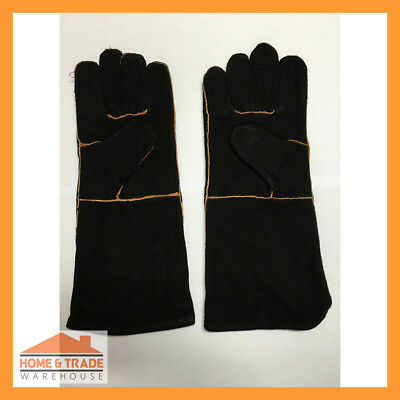 1 Pair Black Leather Lined Welding Gloves Welders Gauntlets Kevlar Sewn Safety