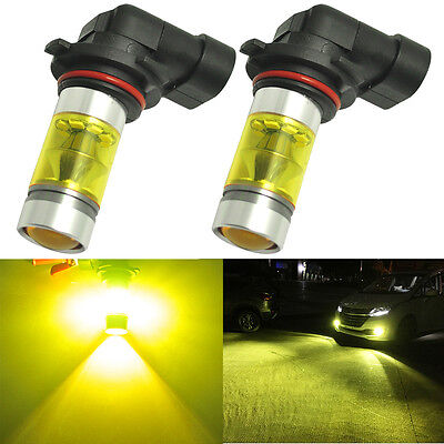 2x 4300K Yellow 9006 HB4 Samsung LED Fog Light Bulbs 100W Projector Driving Lamp