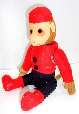 "Antique Schuco 8.5"" Yes-No Bellhop Monkey 1920s Stuffed Plush Mechanical Tin Toy"