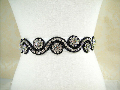 "18""Black Rhinestone Crystal Bridal Belt Wedding Sash Accessory Any Colour Ribbon"