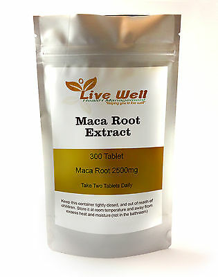 Live Well Maca Root Extract 2500mg Tablets, energy, stamina, sexual health