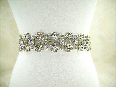 "18"" Handmade Rhinestone Bridal Belt Ivory Crystal Wedding Sash Any Colour Ribbon"