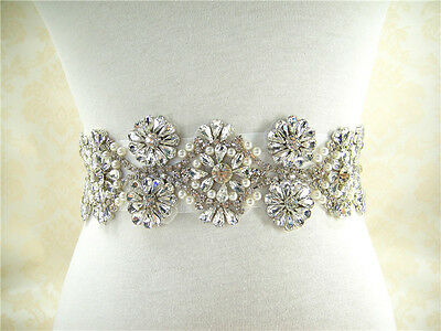"18"" Ivory Pearl Bridal Belt Crystal Wedding Sash Accessories Any Colour Ribbon"