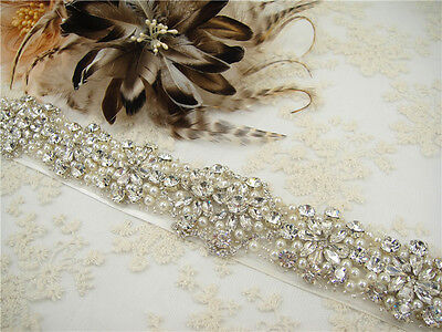 Stunning Pearl Sash Crystal Bridal Belt Wedding Accessories Any Colour Ribbon