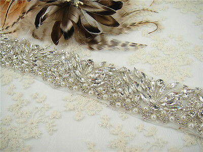 "Ivory Pearl Crystal Bridal Belt 18"" Long Handmade Rhinestone Wedding Sash"