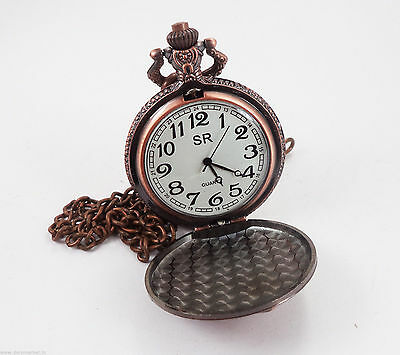 Vintage Reproduction Stream Engine Designed Sweet Pink Pocket Watch & Chain
