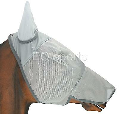 NEW!! FREE P&P Full Face Mesh Fly Mask/Veil With Nose Grey  Full (Large)