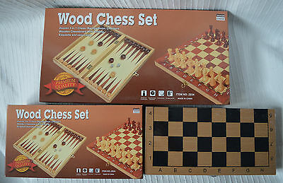 Wooden Chess & Backgammon Set wood folding board and pieces large game boardgame