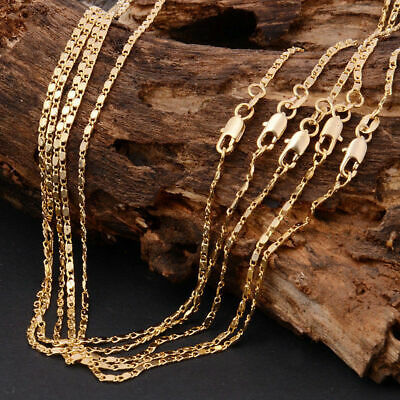 Fashion Yellow Gold Plated Chain Necklace Luxury Jewelry Gift For Men Women