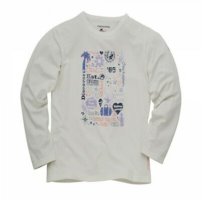 Craghoppers Girls Graphic Long Sleeve T-shirt in Sea Salt White 9-10 Years ONLY