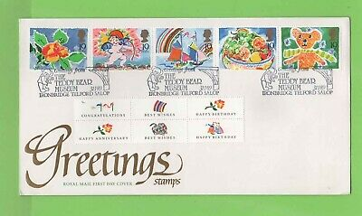 G.B. 1989 Greetings set & labels  u/a Royal Mail First Day Cover, Teddy Museum
