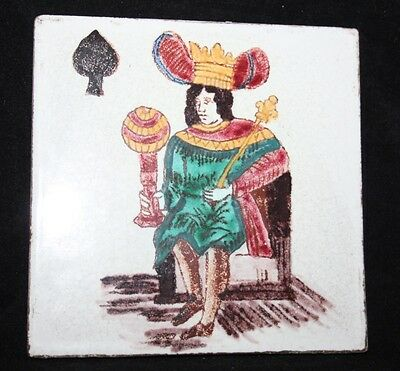 Hand Painted Vintage Terracotta Tile - King of Spades