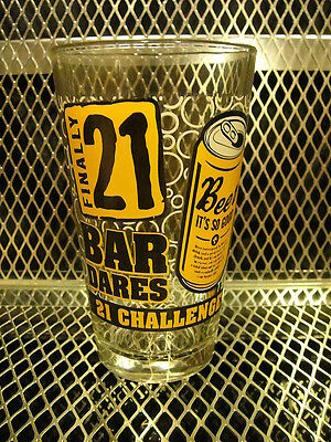 21 BAR DARES CHALLENGE ~ Finally 21 ~ NEW 16oz Shaker Beer Pint Glass J