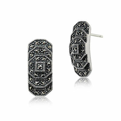 Gemondo Sterling Silver 0.40ct Marcasite Art Deco Stepped Stud Earrings
