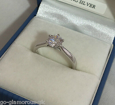 UK Made STERLING SILVER created Diamond Solitaire Engagement Ring Sizes J - Q