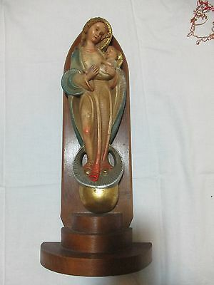 "Vintage Statue of Madonna & Child 12"" tall priest vestment chalice rosary"