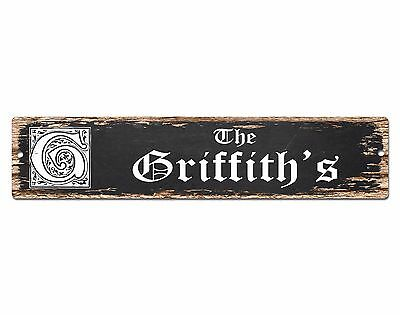 SPFN0369 The GRIFFITH'S Family Name Street Chic Sign Home Decor Gift Ideas